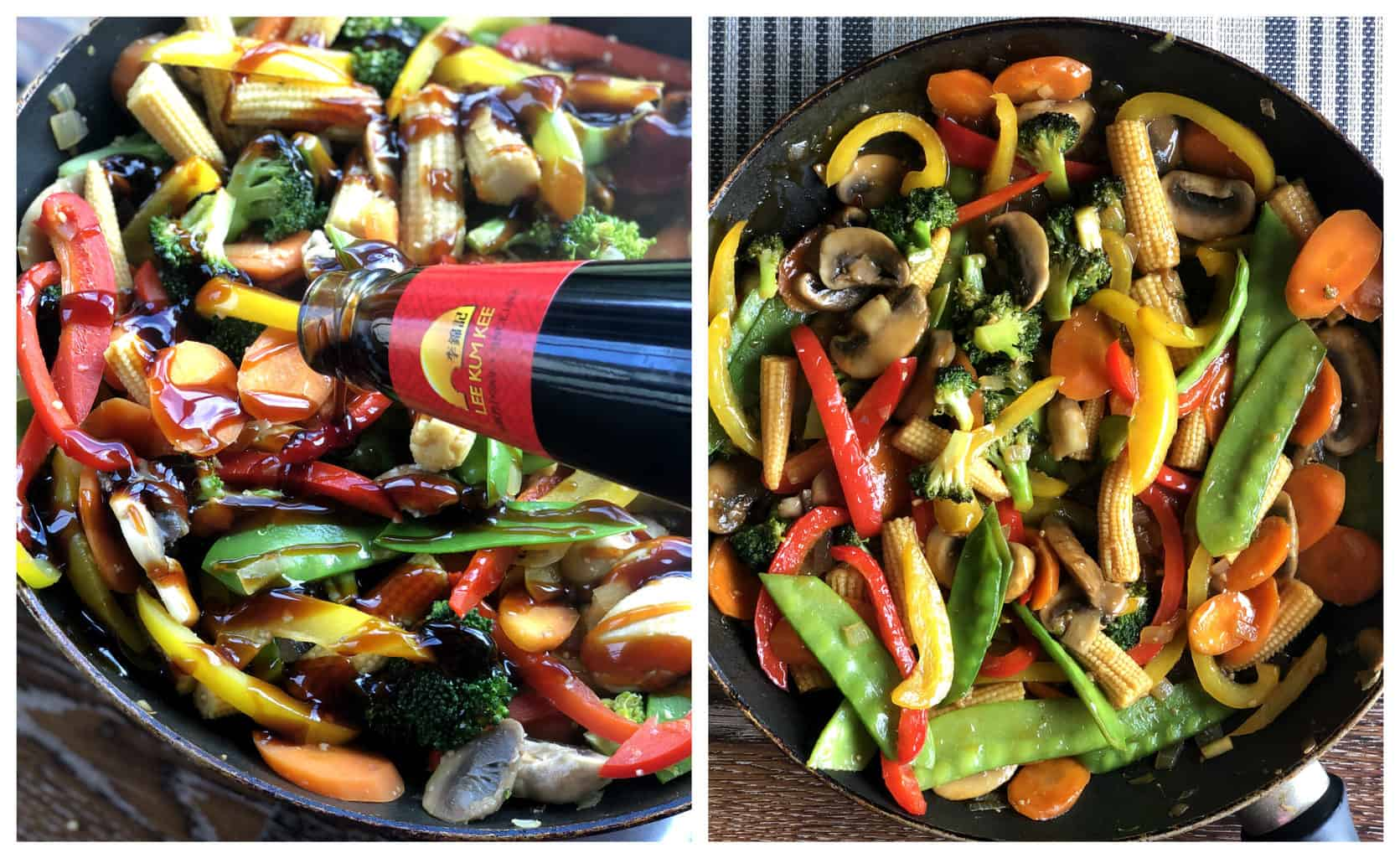 Two photos in a collage showing how to add sauce to the stir fry