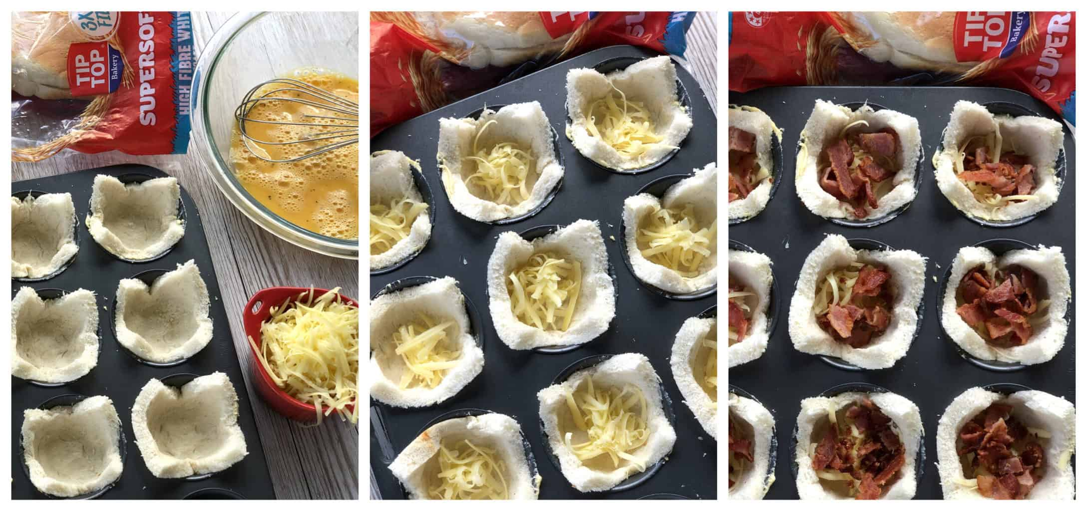 Step by step photos showing how to prepare the filling for the bread nests