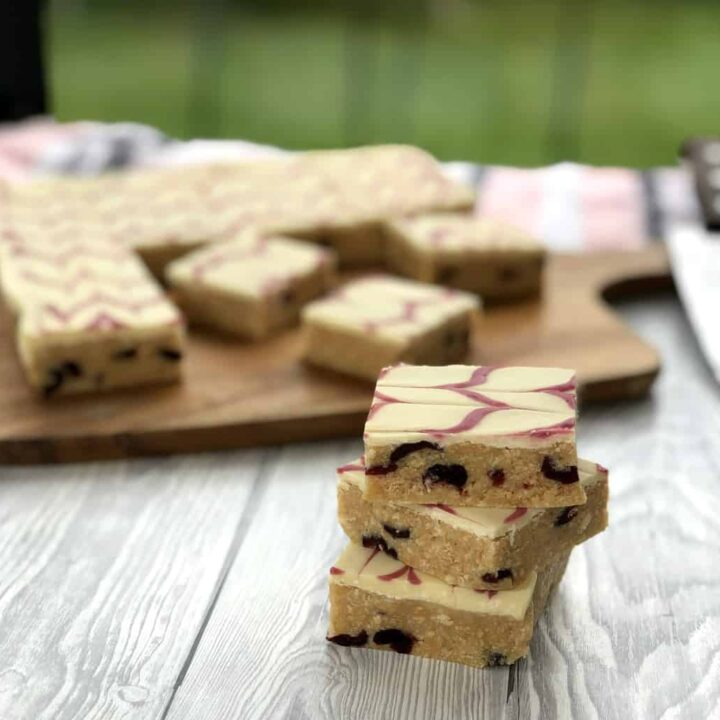 White Chocolate Cranberry No Bake Slice