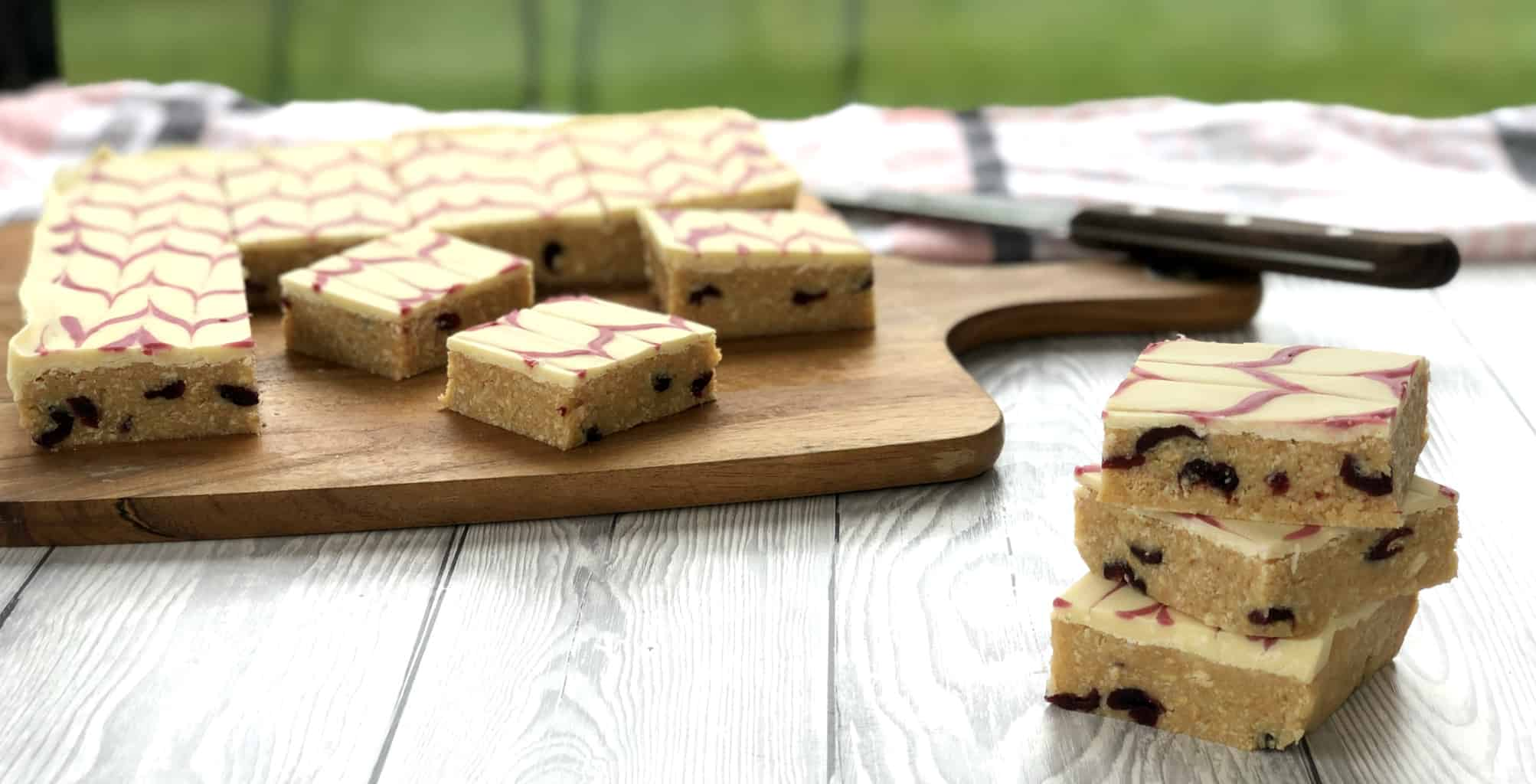 Cranberry White Chocolate No Bake Slice