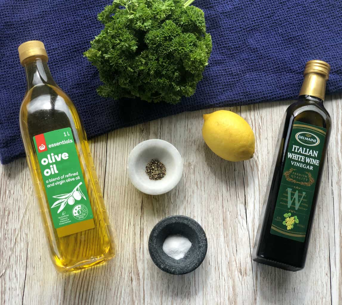 Ingredients for how to make Greek Salad Dressing for an Orzo Pasta Salad.