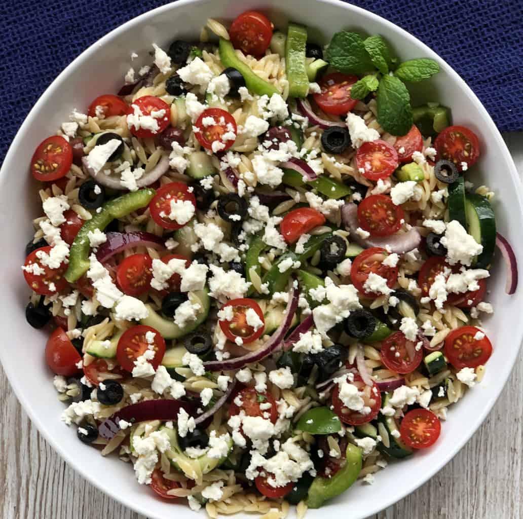 Overhead photograph of a Greek Orzo Salad
