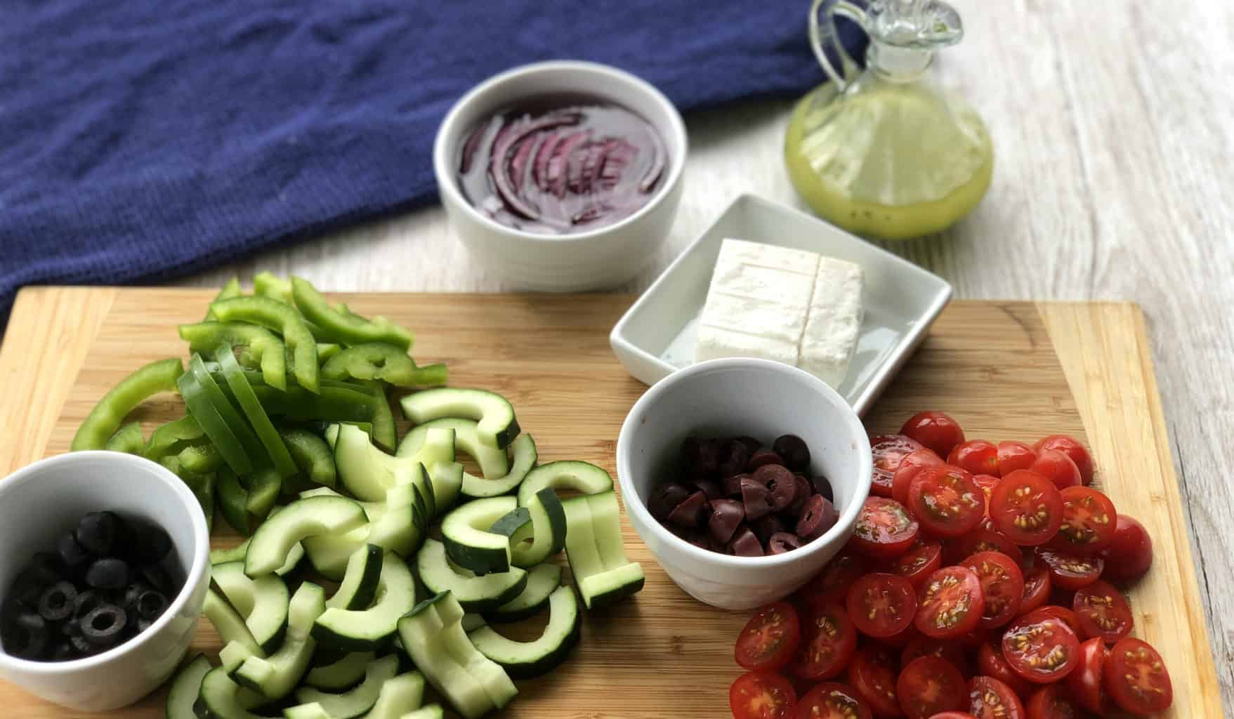 Prepare the ingredients before combining the salad