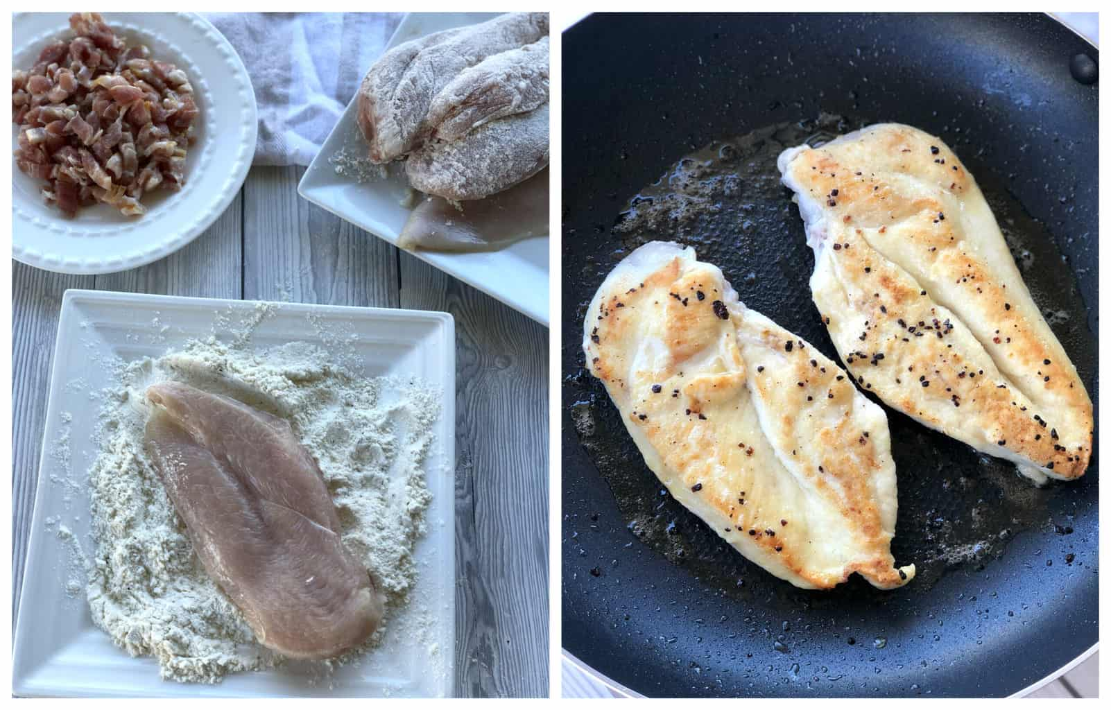 Images showing how to flour the chicken and pan fry