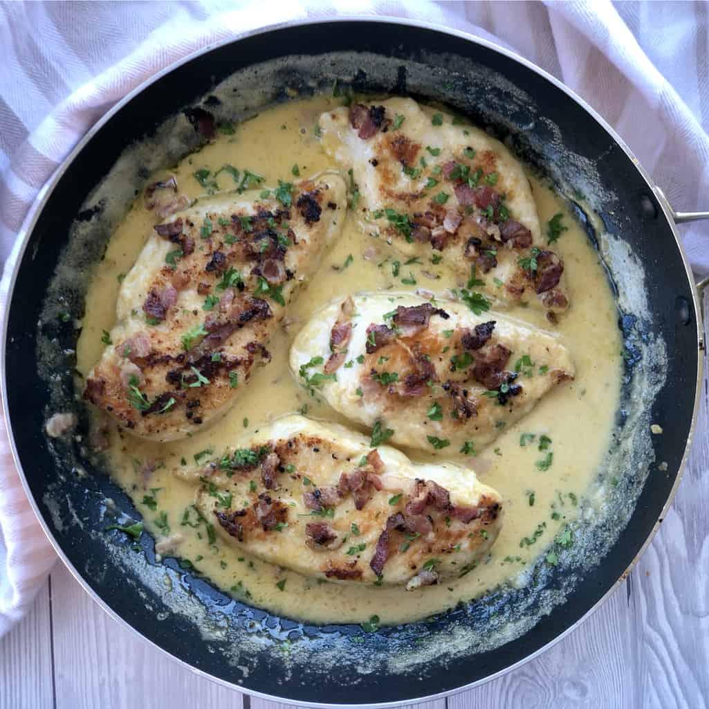 Just A Mum Creamy Garlic Bacon Chicken