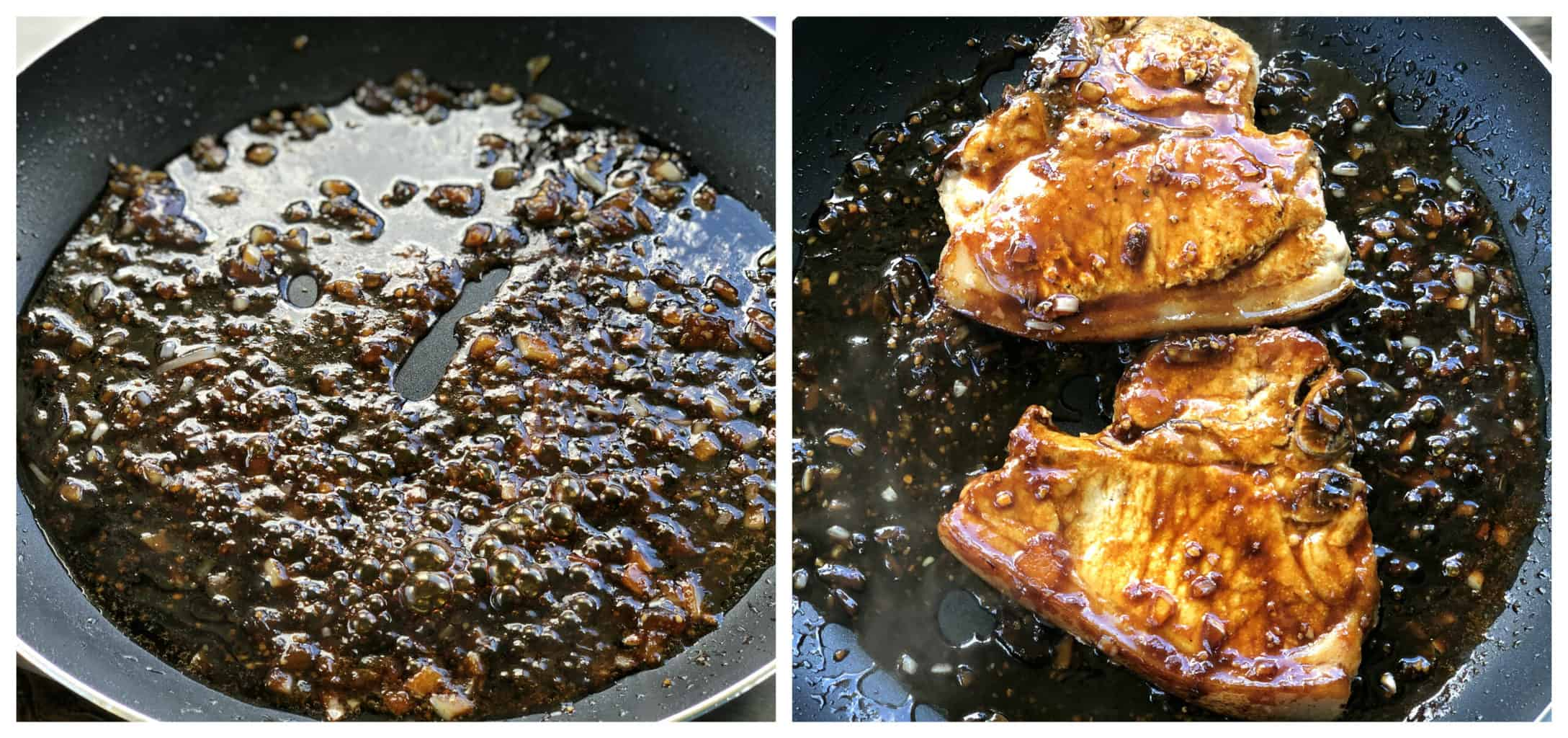 Apricot & Soy Sauce Glaze for Pork Chops in a frying pan bubbling