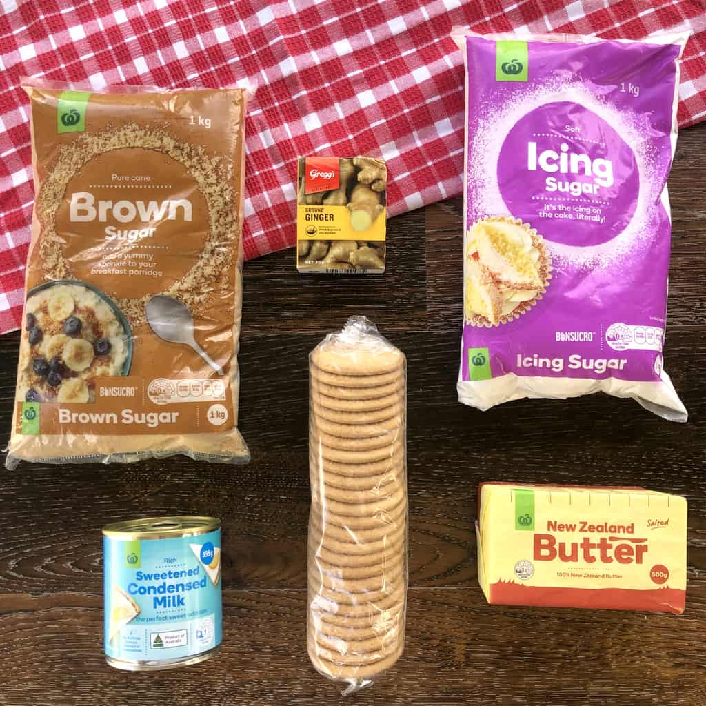 Image of the ingredients used for a no bake ginger slice, see recipe card for details