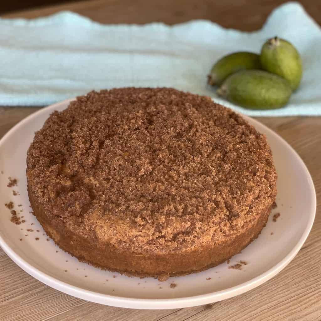 Golden Brown Feijoa Cinnamon Crunch Cake