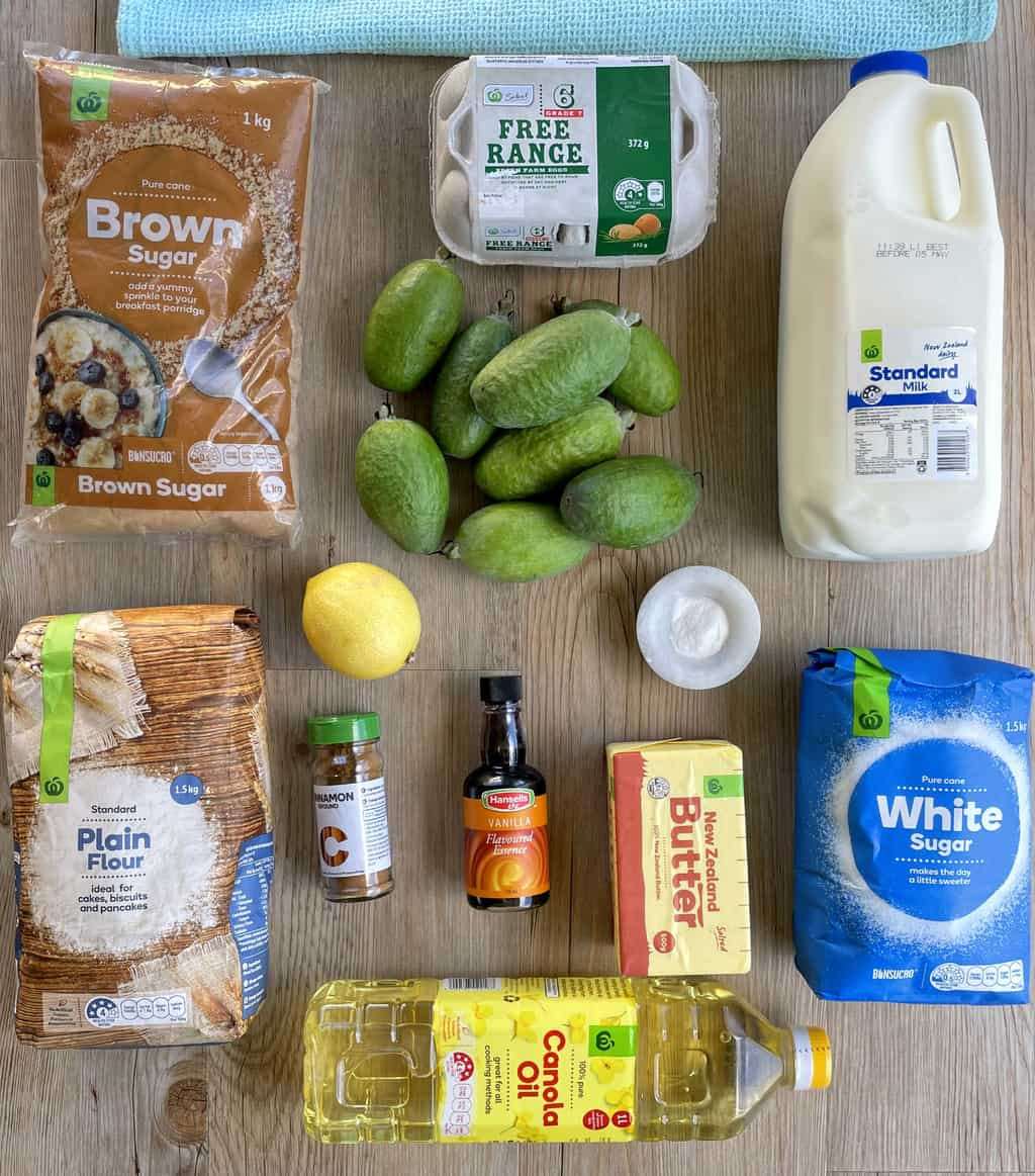 Ingredients used for a feijoa cinnamon crunch cake - see recipe card for list
