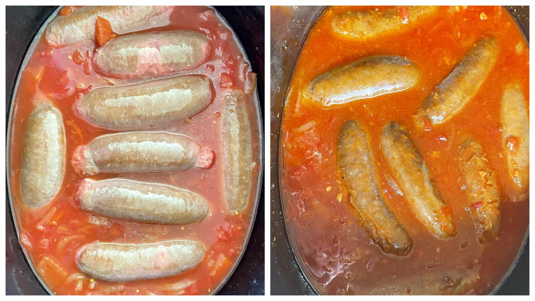 Lee Kum Kee Tangy Devilled Sausages before and after slow cooking