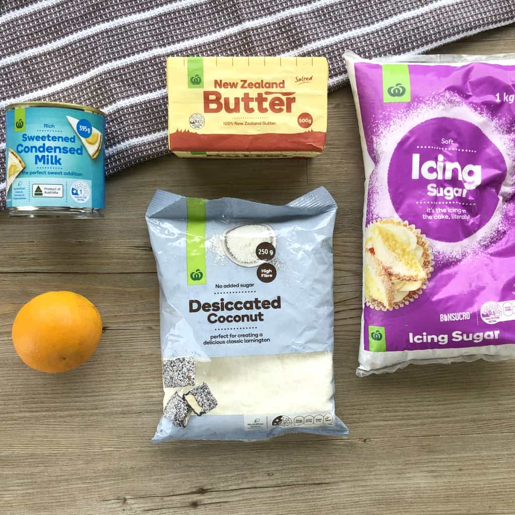 The ingredients used for the icing for a no bake orange biscuit slice