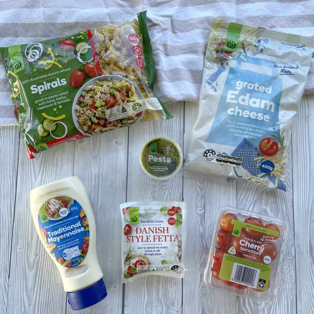 Ingredients used for the Pesto Pasta Salad - see recipe for full details