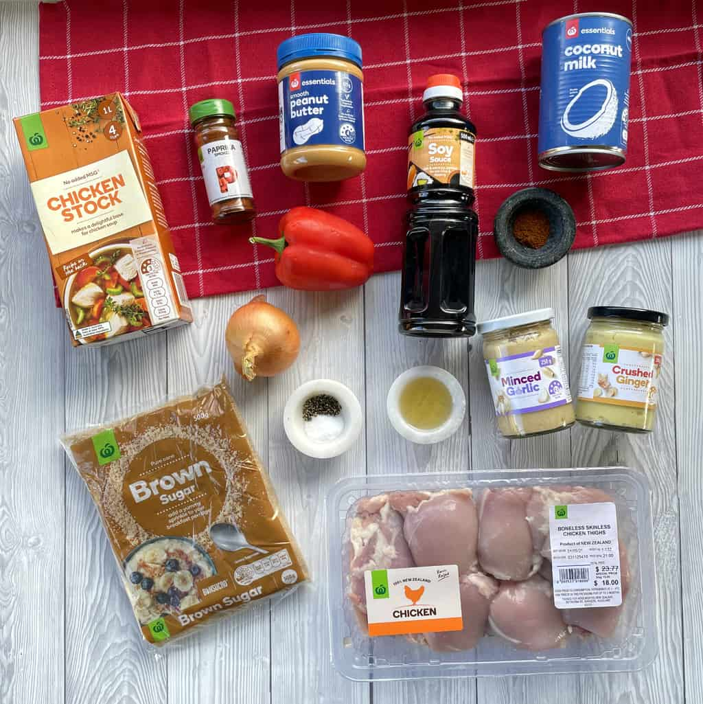 Overhead photograph of the ingredients used in Slow Cooker Satay Chicken, see recipe card for full details
