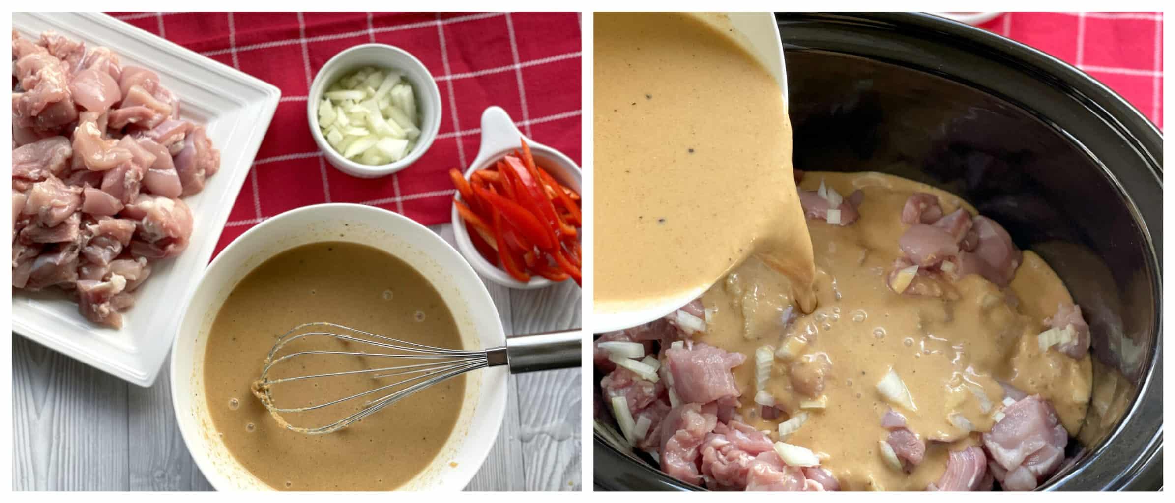 Method for making slow cooker satay chicken