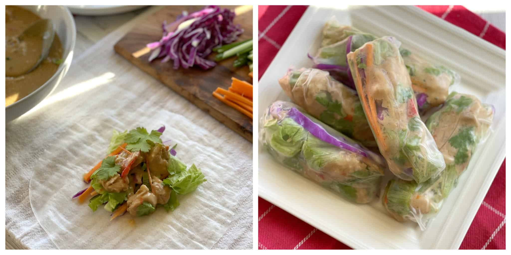 Rice Paper rolls using Satay Chicken and fresh salad ingredients