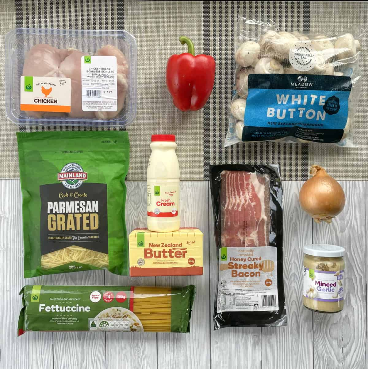 Ingredients from Countdown Supermarket to make Creamy Bacon Fettucine, see recipe card for full list
