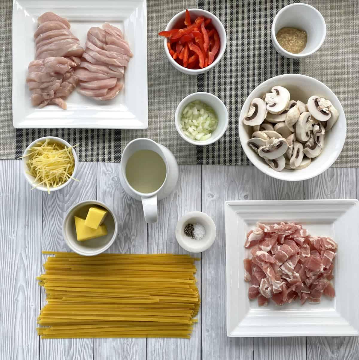 Ingredients prepared to make Chicken & Bacon Fettucine
