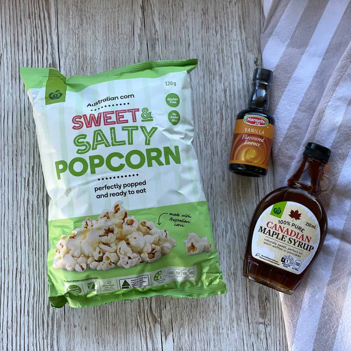 Ingredients Used for Maple Syrup Popcorn see the recipe card