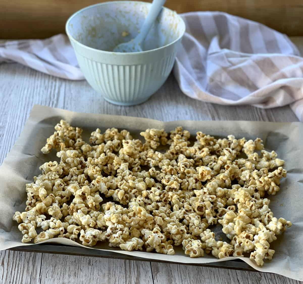 Tray of maple syrup coated popcorn