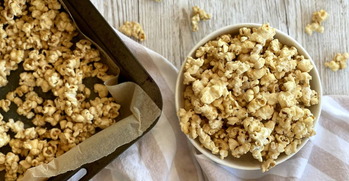 Maple Syrup Popcorn and a tray of coated popcorn