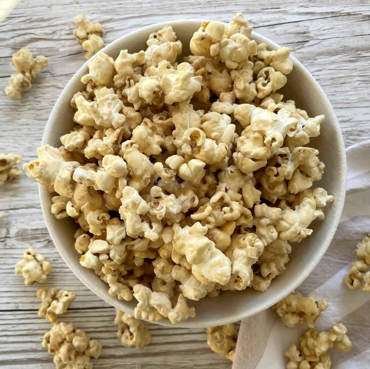 Bowl of Maple Syrup coated popcorn