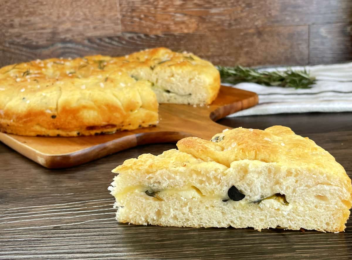 Stuffed Focaccia Bread infused with rosemary and garlic olive oil