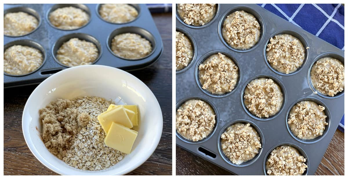 how to make the crunchy rolled oats topping for the muffins