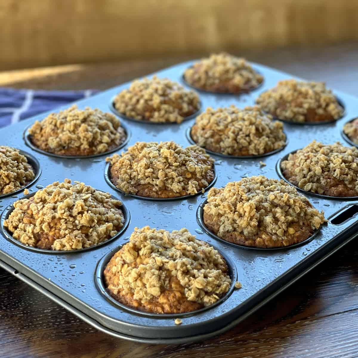 Freshly baked warm banana oat muffins