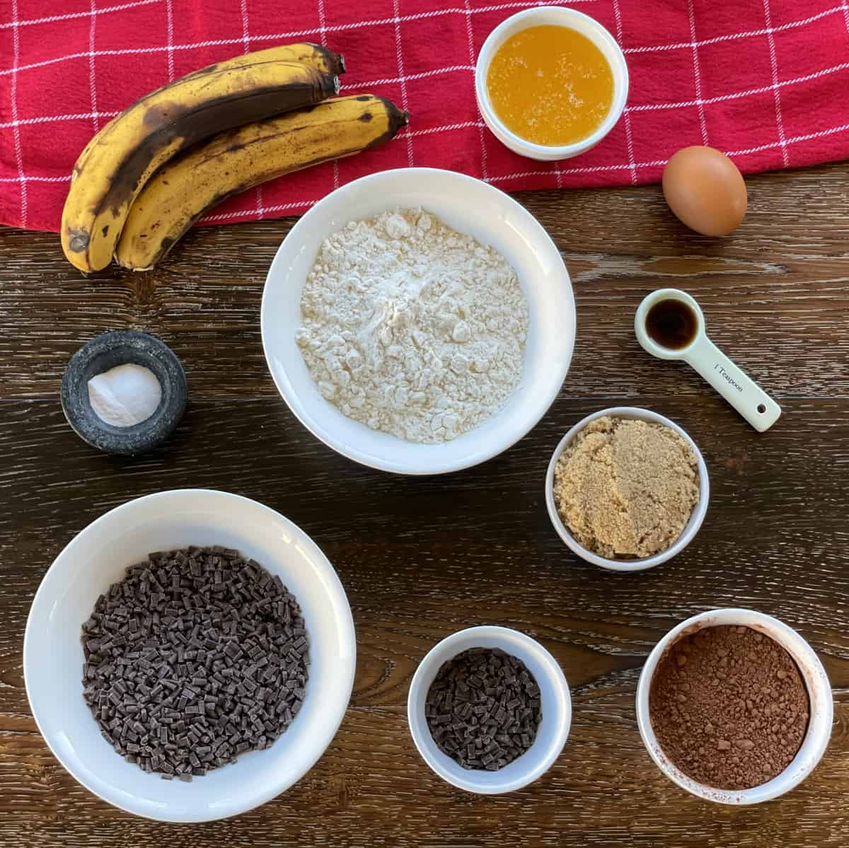 Ingredients for Double Chocolate Banana Loaf, see recipe card for details