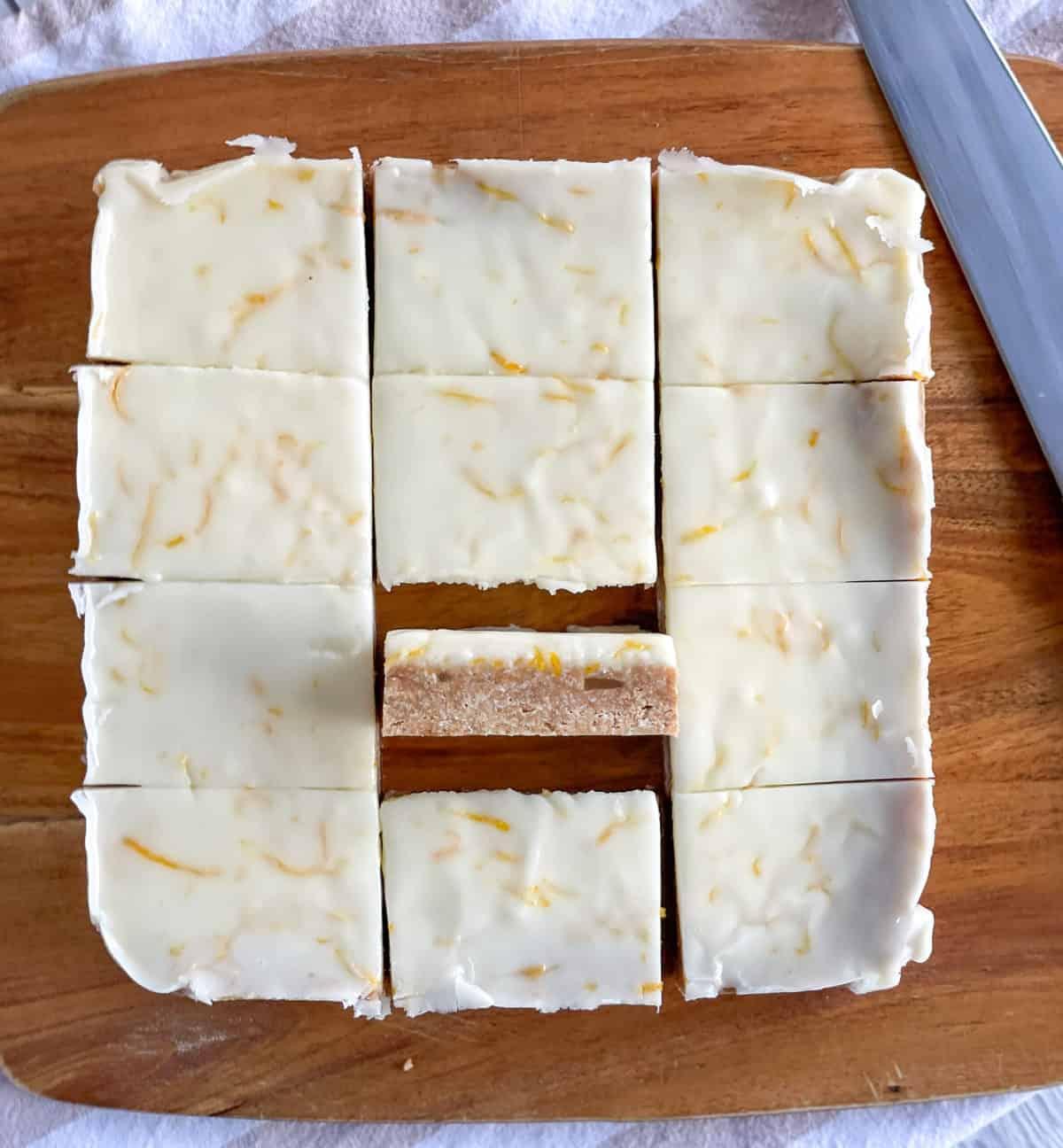 Sliced ginger and lemon no bake slice
