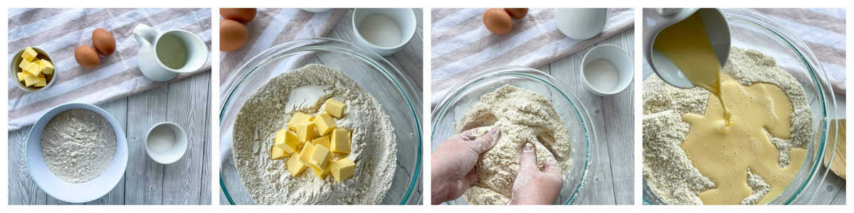 Step by step photos showing how to make the dough for the scrolls