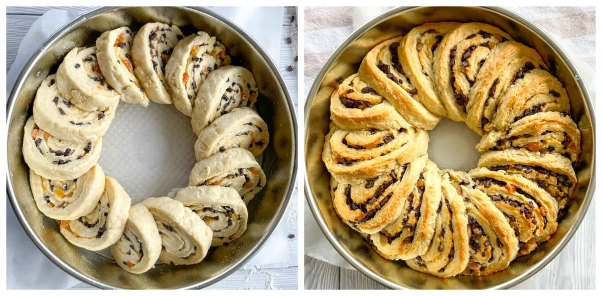 Apricot and Chocolate Scrolls before and after baking
