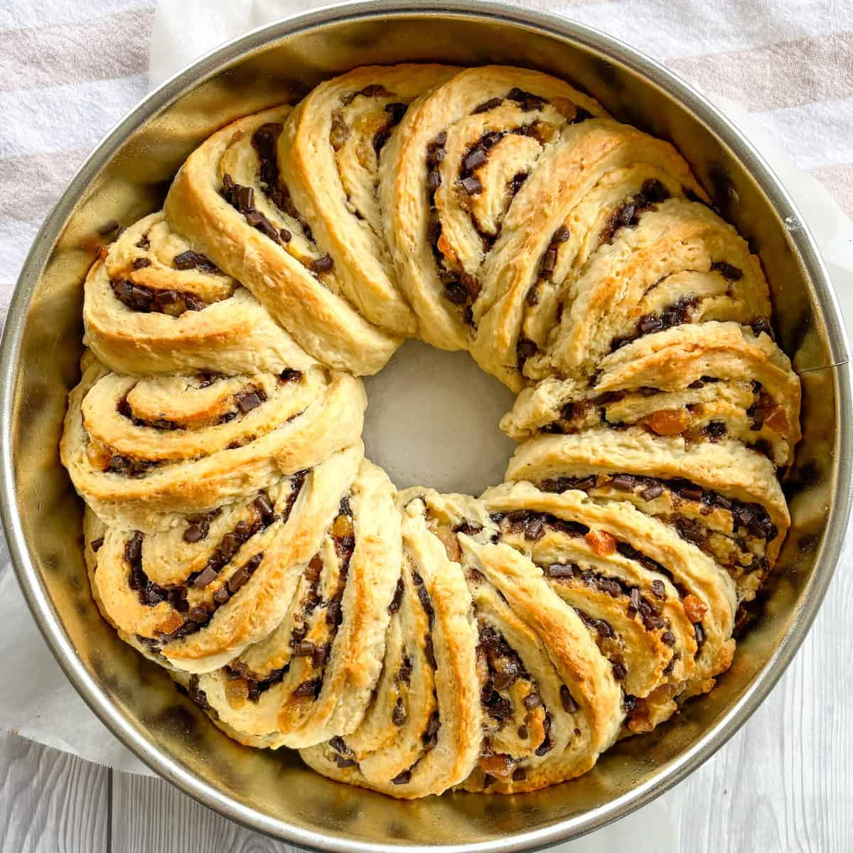 Freshly baked and golden brown apricot and chocolate scrolls