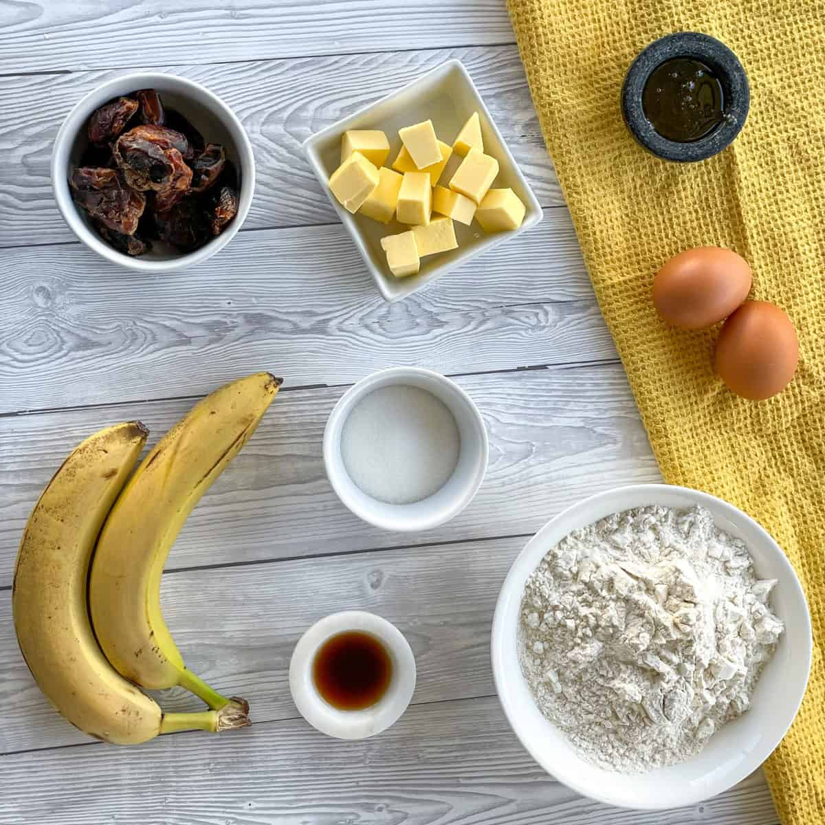 Ingredients required for a Banana & Date Loaf see the recipe card