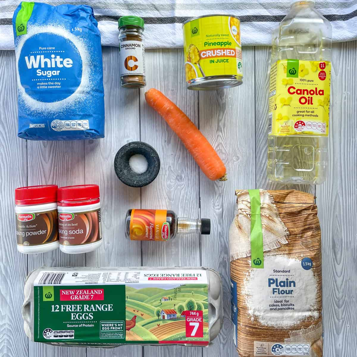 Flatlay of the ingredients and brands I use from Countdown Supermarkets