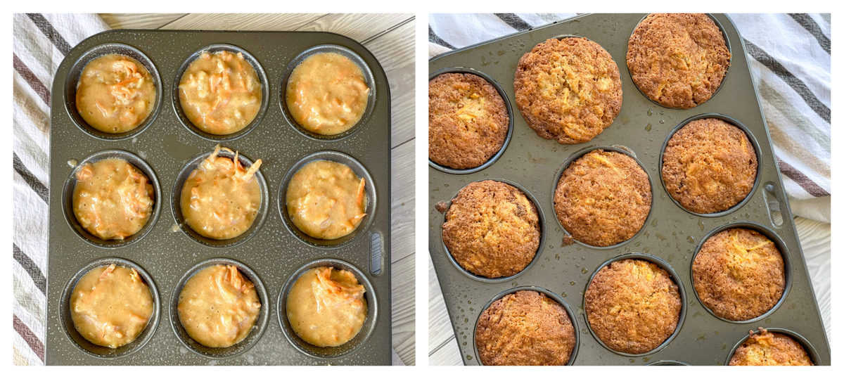 A muffin tray with uncooked muffin mix and golden brown cooked muffin mix