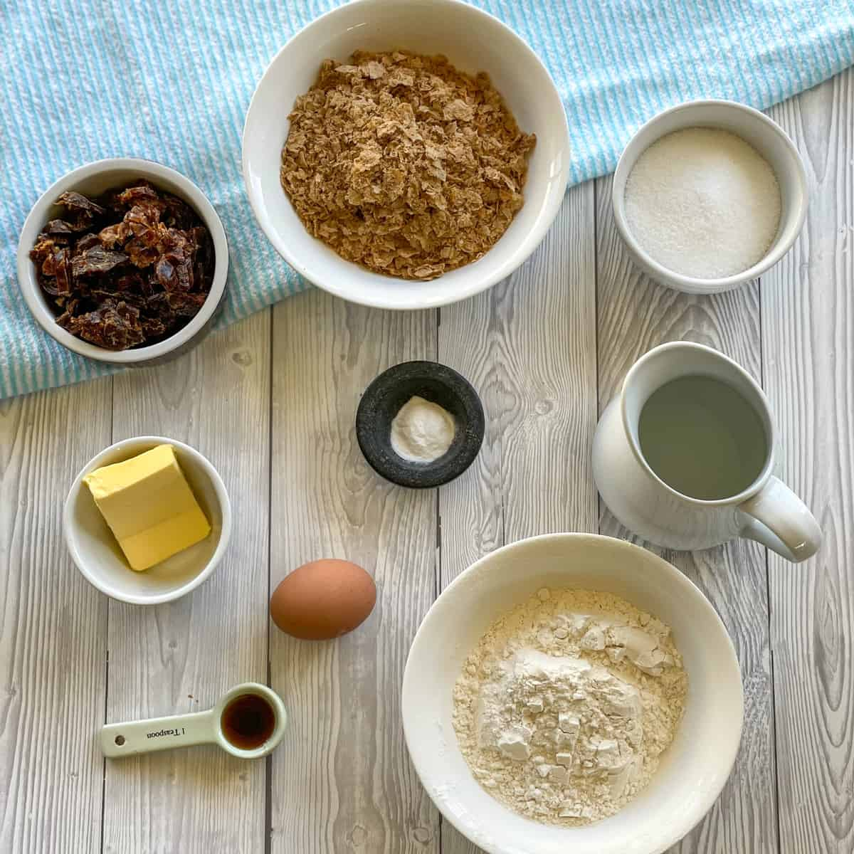 Showing ingredients used to make weetbix and date loaf, see recipe card