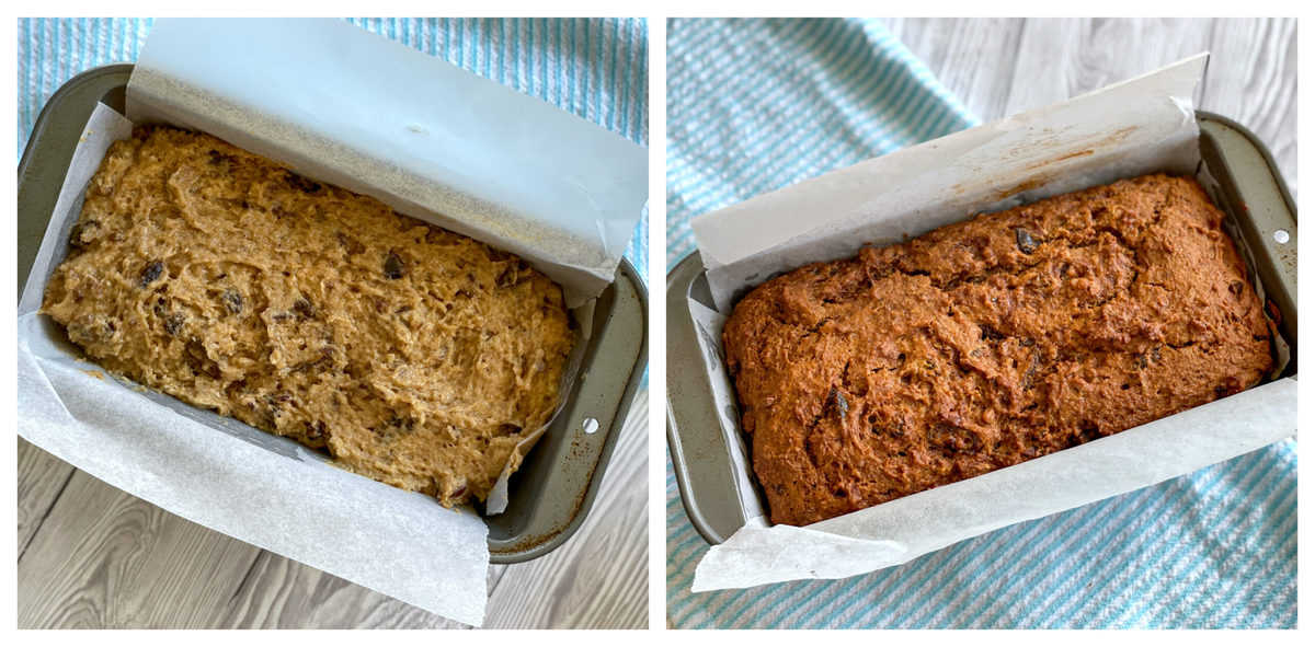 Photo on the left shows the unbaked loaf and on the right the golden brown baked loaf