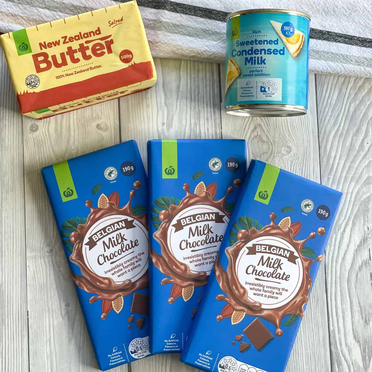 3 Ingredients used for milk chocolate fudge, milk chocolate, condensed milk and butter