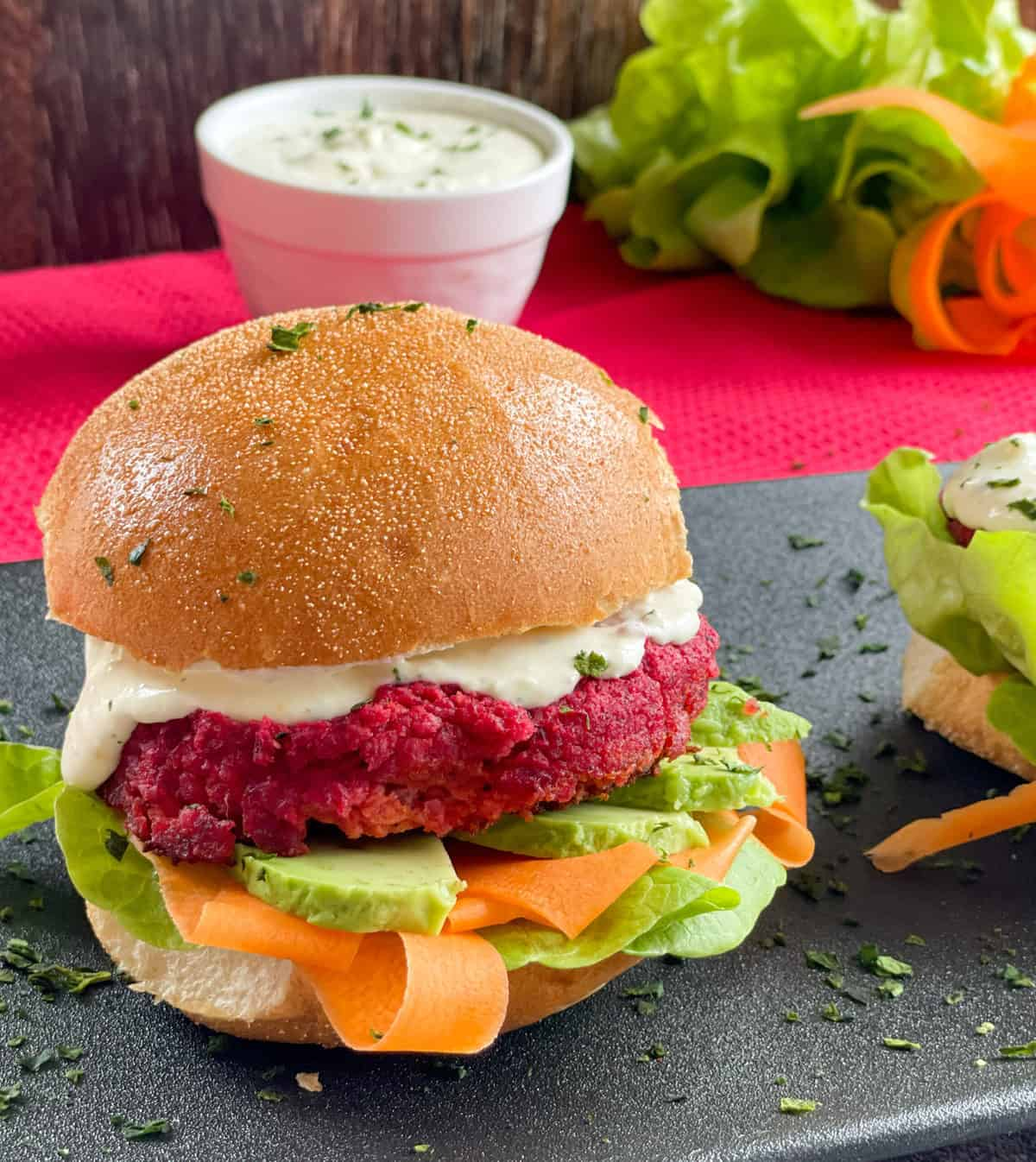 Vegetarian Beetroot and Chickpea Burger