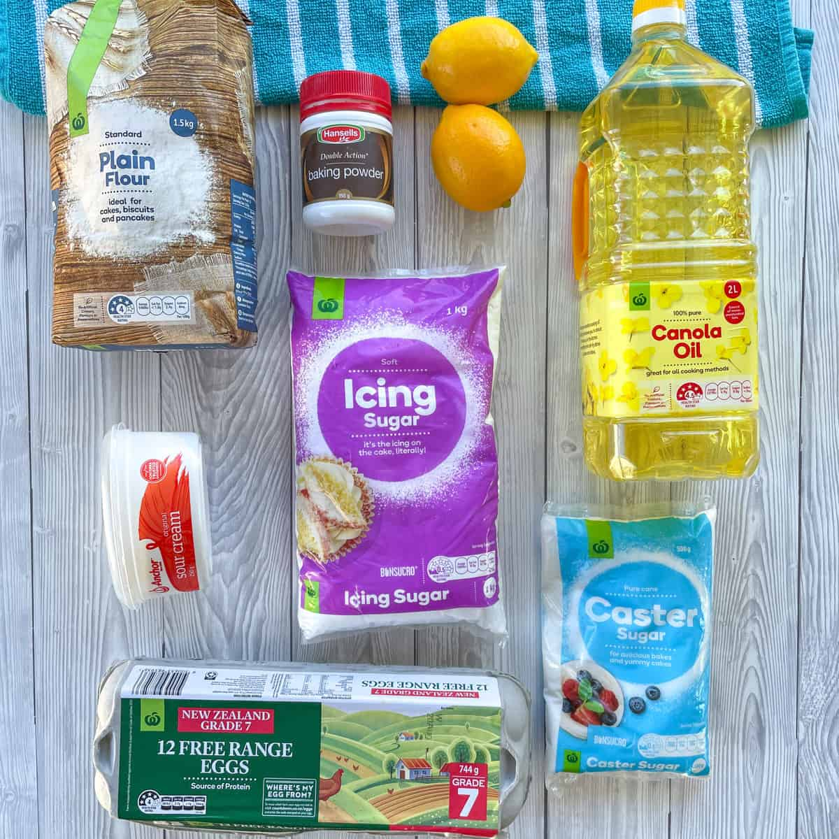 Ingredients for Lemon Syrup Cake provided by Countdown Supermarkets showing the brands I use