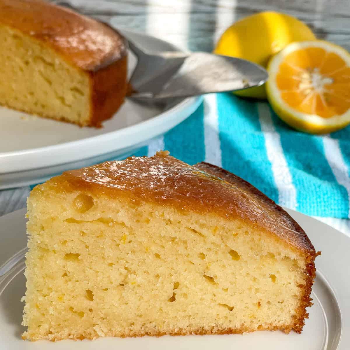 Piece of lemon syrup cake